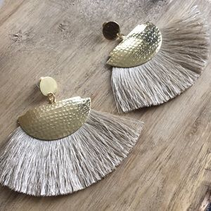 Hammered Brass Fringe Boho Statement Earrings